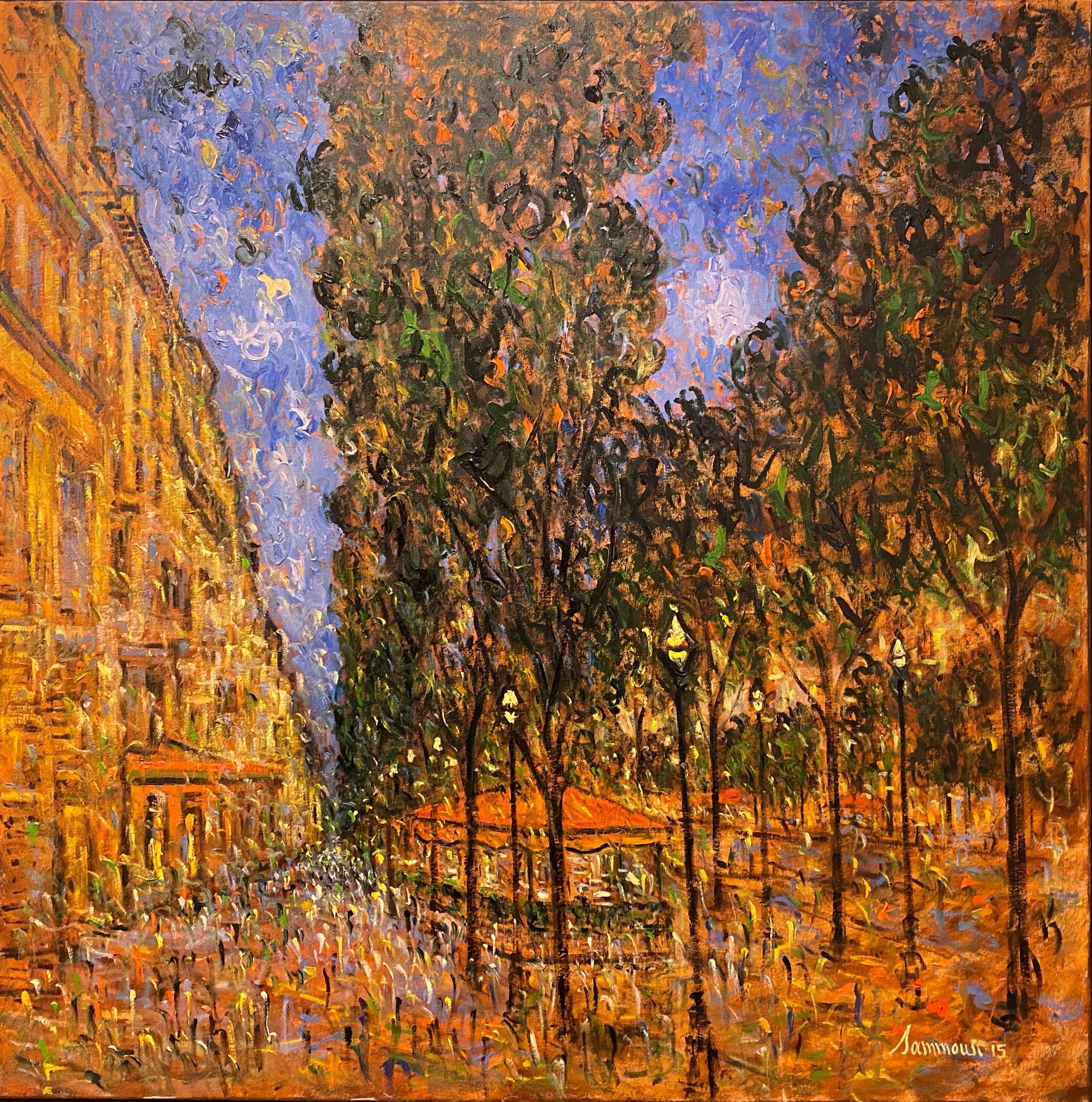Samir Sammoun - Evening in Paris - Painting - Original oil on canvas - Off The Wall Gallery