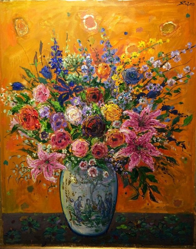 Bruno Zupan - Bouquet on Cinnamon Ground - Original painting - Off The Wall Gallery Houston