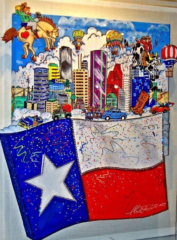 Charles Fazzino - The Flying Texas Flag / Of The Wall Gallery