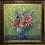 Bruno Zupan - Original painting - Bouquet on Chartreuse Ground - Off The Wall Gallery Houston