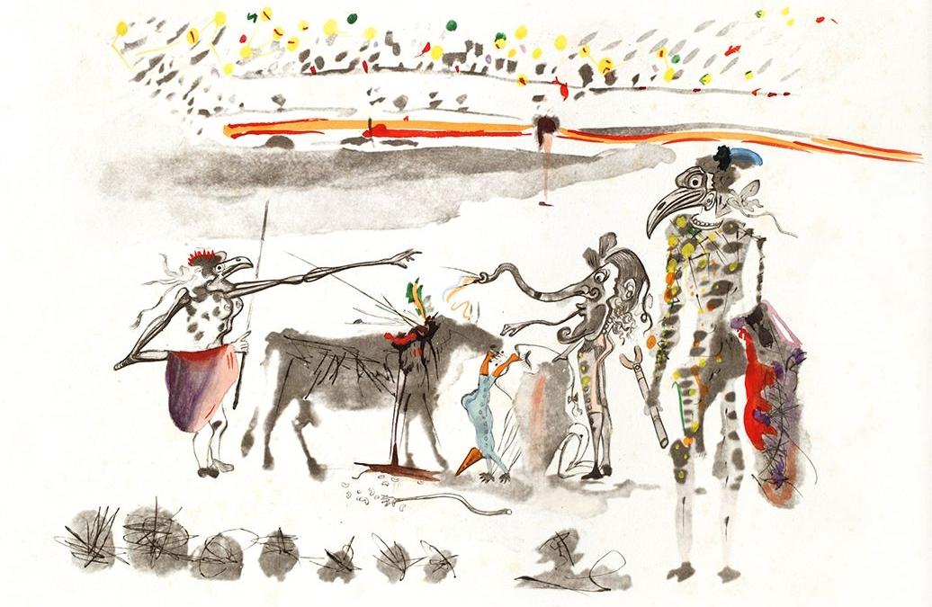 Surrealist Bullfight – Bullfight with Parrots