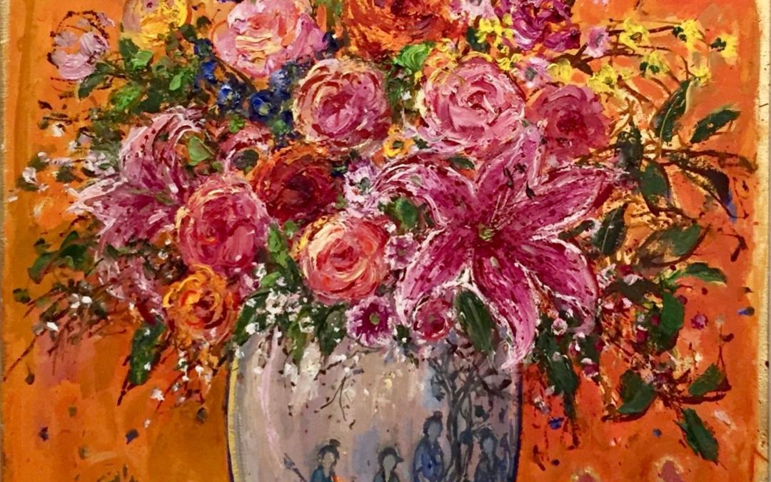 Bouquet in Chinese Ladies Vase, Cinnamon Ground