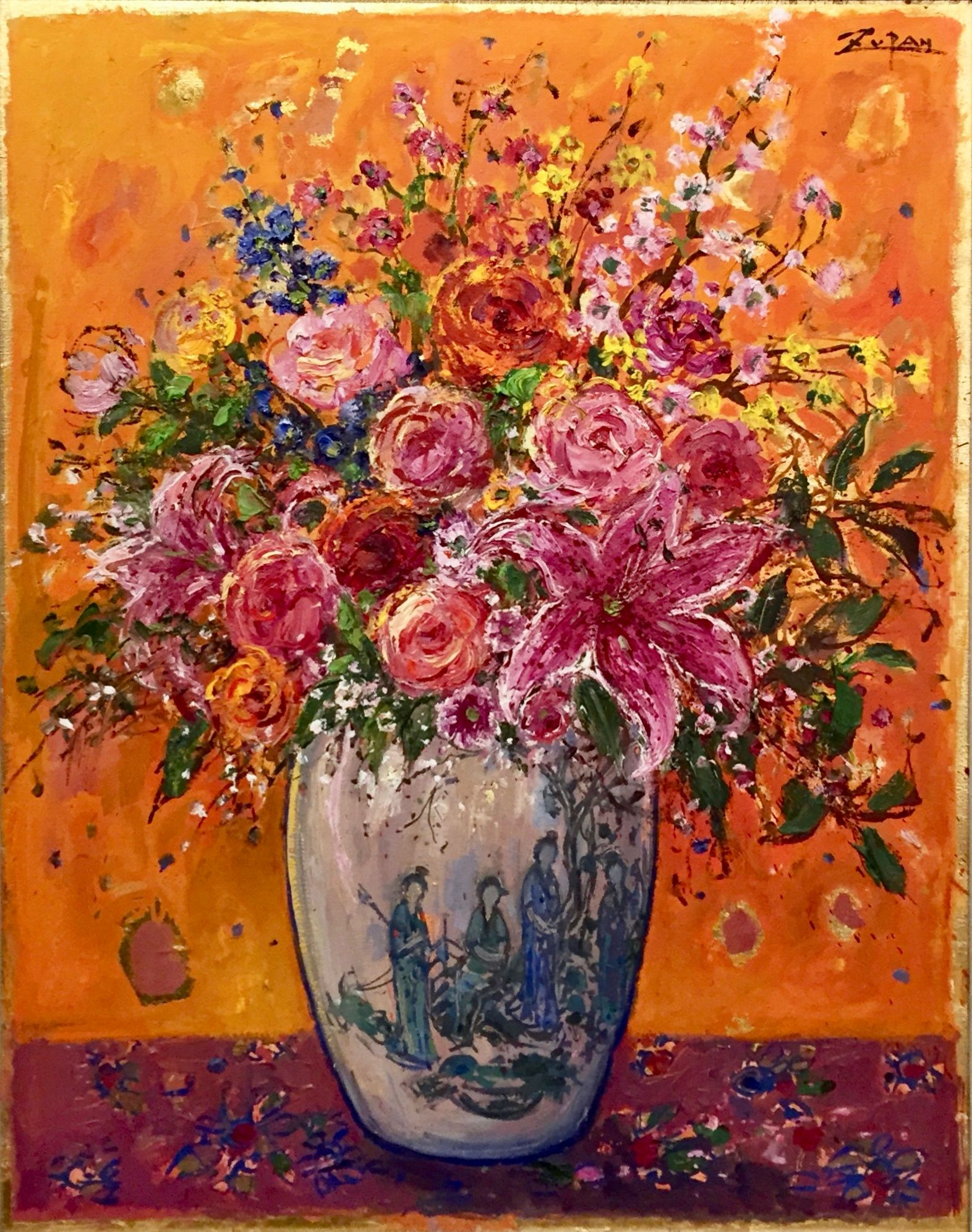 Bruno Zupan - Bouquet in Chinese ladies Vase Cinnamon Ground - Original painting - Off The Wall Gallery Houston