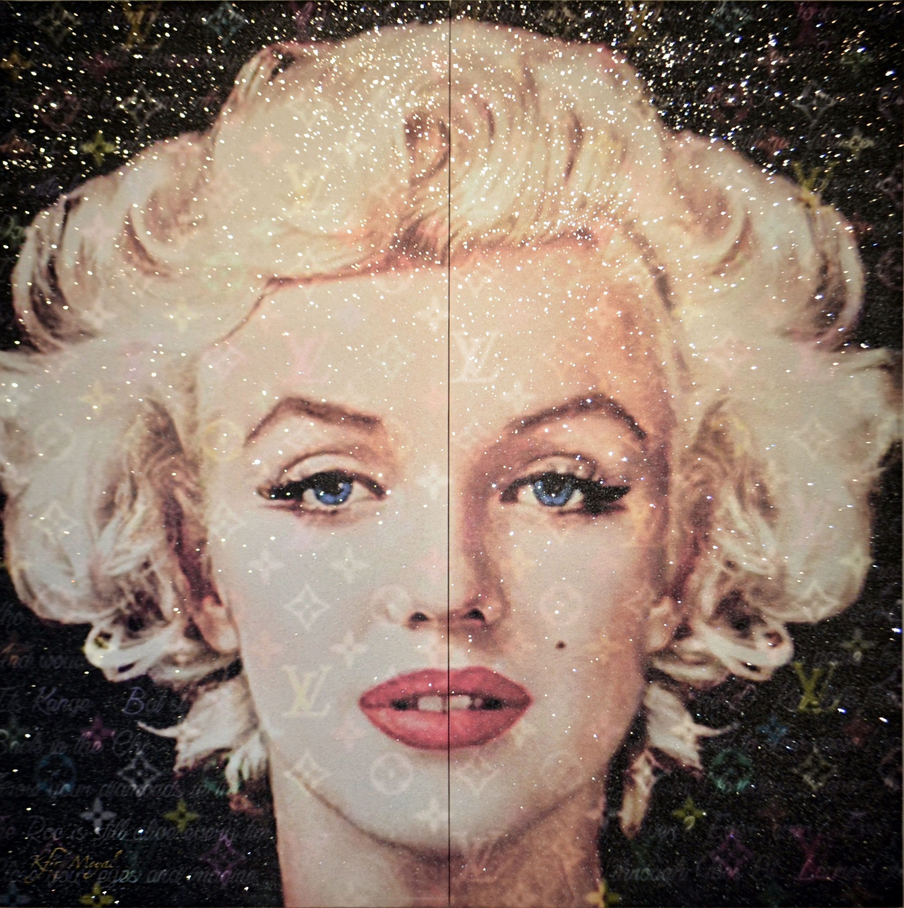 Kfir Moyal - Stunning Marilyn with LV, 2018; Diptych; Pop Art; Limited edition mixed media silkscreen on canvas, with hand-embellished Swarovski crystals; Off The Wall Gallery