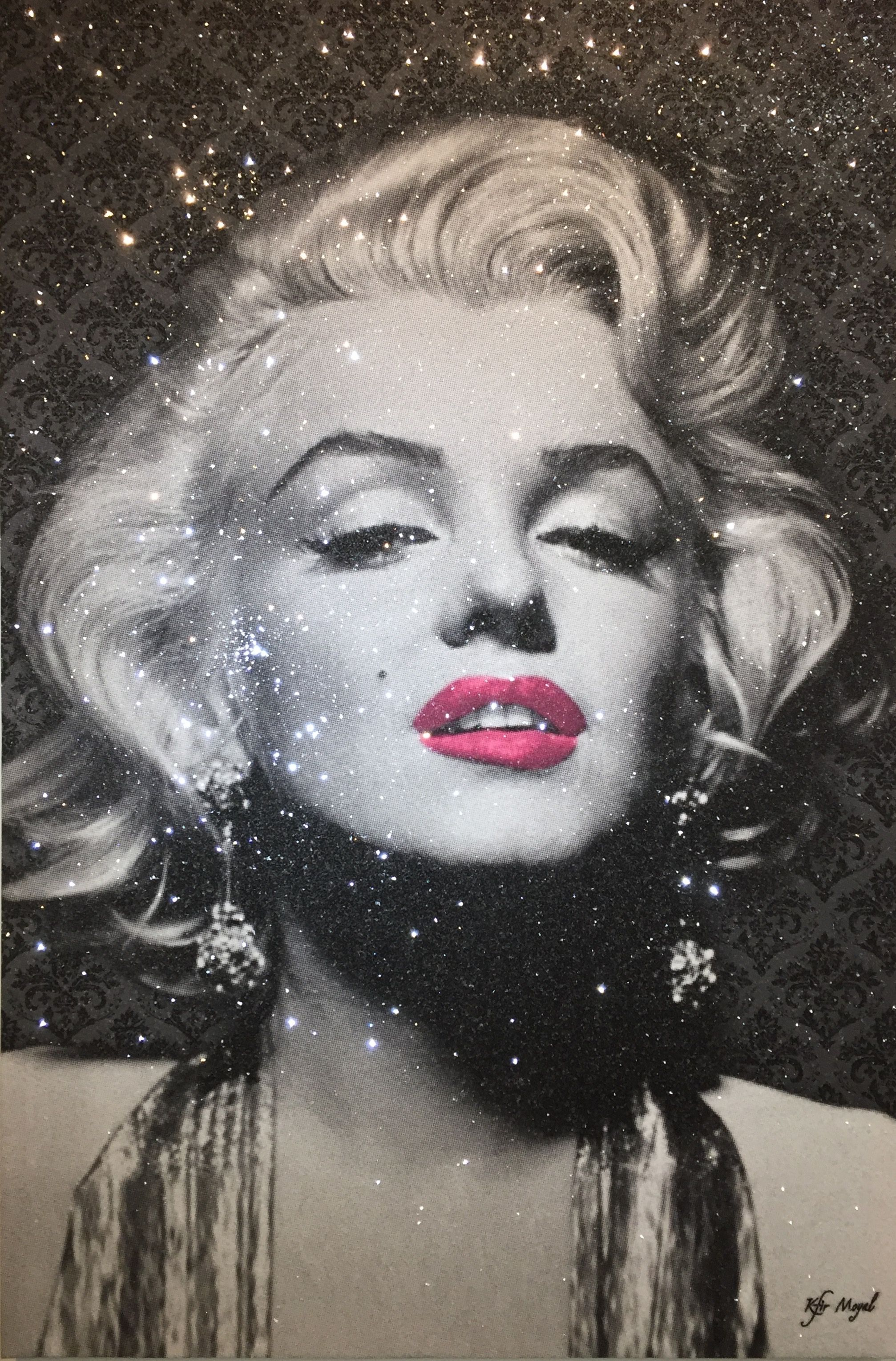 Kfir Moyal - Marilyn Birthday Hot Pink Lips, 2017; Limited edition mixed media silkscreen on canvas, diamond dust, and hand-embellished Swarovski crystals; Off The Wall Gallery Houston.