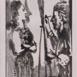 Peintre et Modele en Robe Imprimée