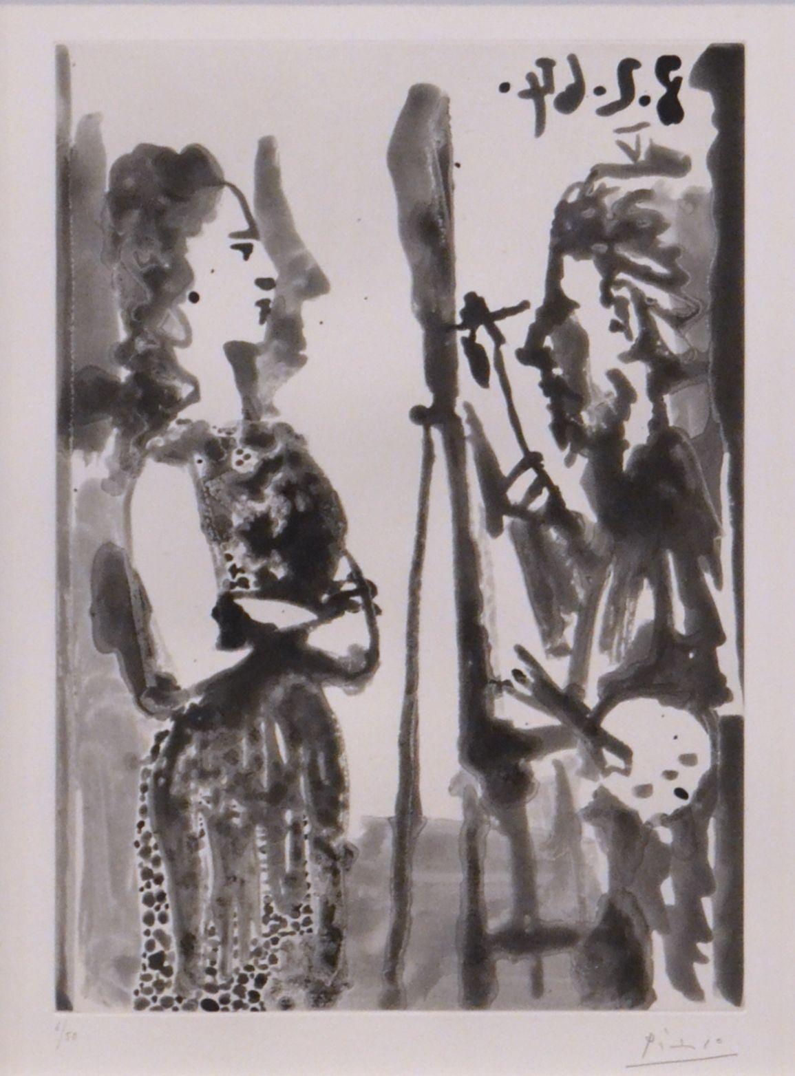 Picasso - Peintre et Modele en Robe Imprimée