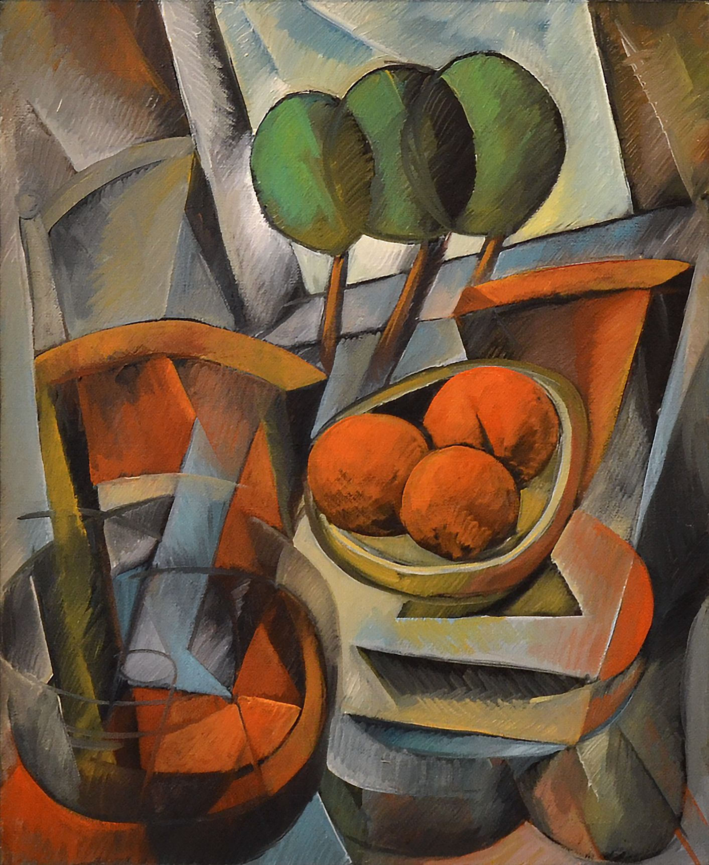 Yuroz - Trees and Pomegranates, 2015; Painting; Original oil on canvas; Signed; Cubism; Contemporary Art; Off The Wall Gallery Houston.