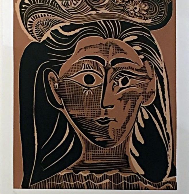 Portrait de Jacqueline au Chapeau de Paille Fleuri (B.1075)