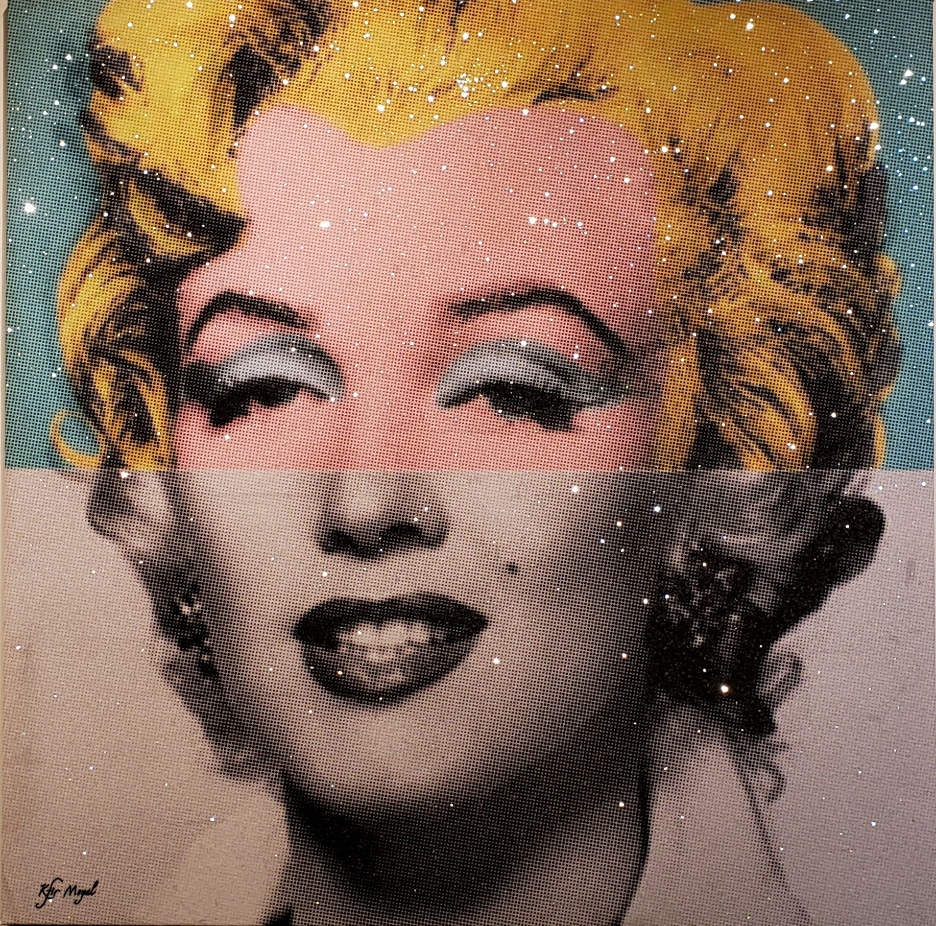 Kfir Moyal; Iconic Marilyn, 2018; Limited edition mixed media silkscreen on canvas, with hand-embellished Swarovski crystals; Signed; Off The Wall Gallery Houston.