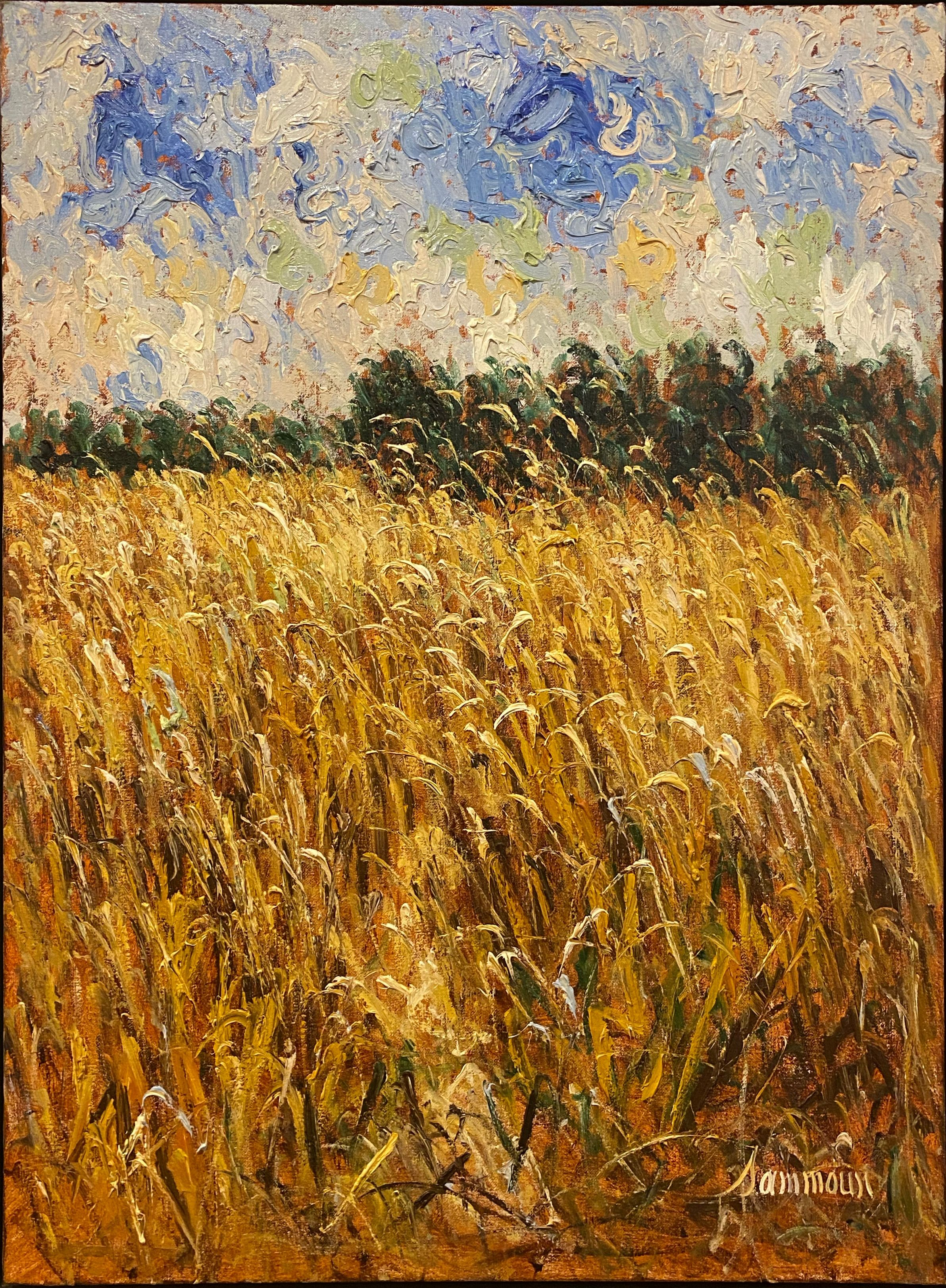 Samir- Sun Scorched Wheat Field - Painting - Off The Wall Gallery Houston