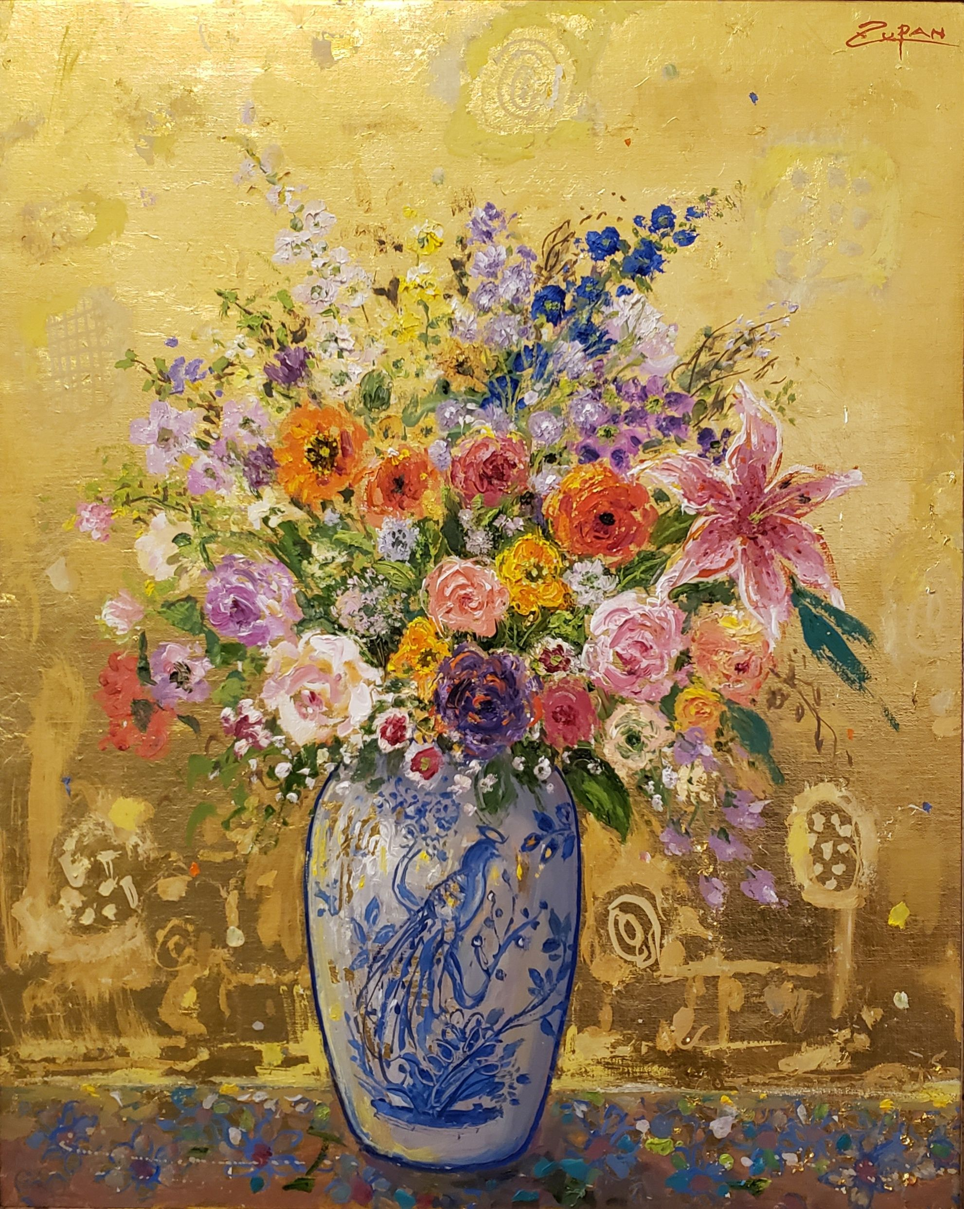 Bruno Zupan - Bouquet on Golden Bouquet, 2019; Painting; Original oil on canvas; Signed; Fine Art; Off The Wall Gallery Houston.