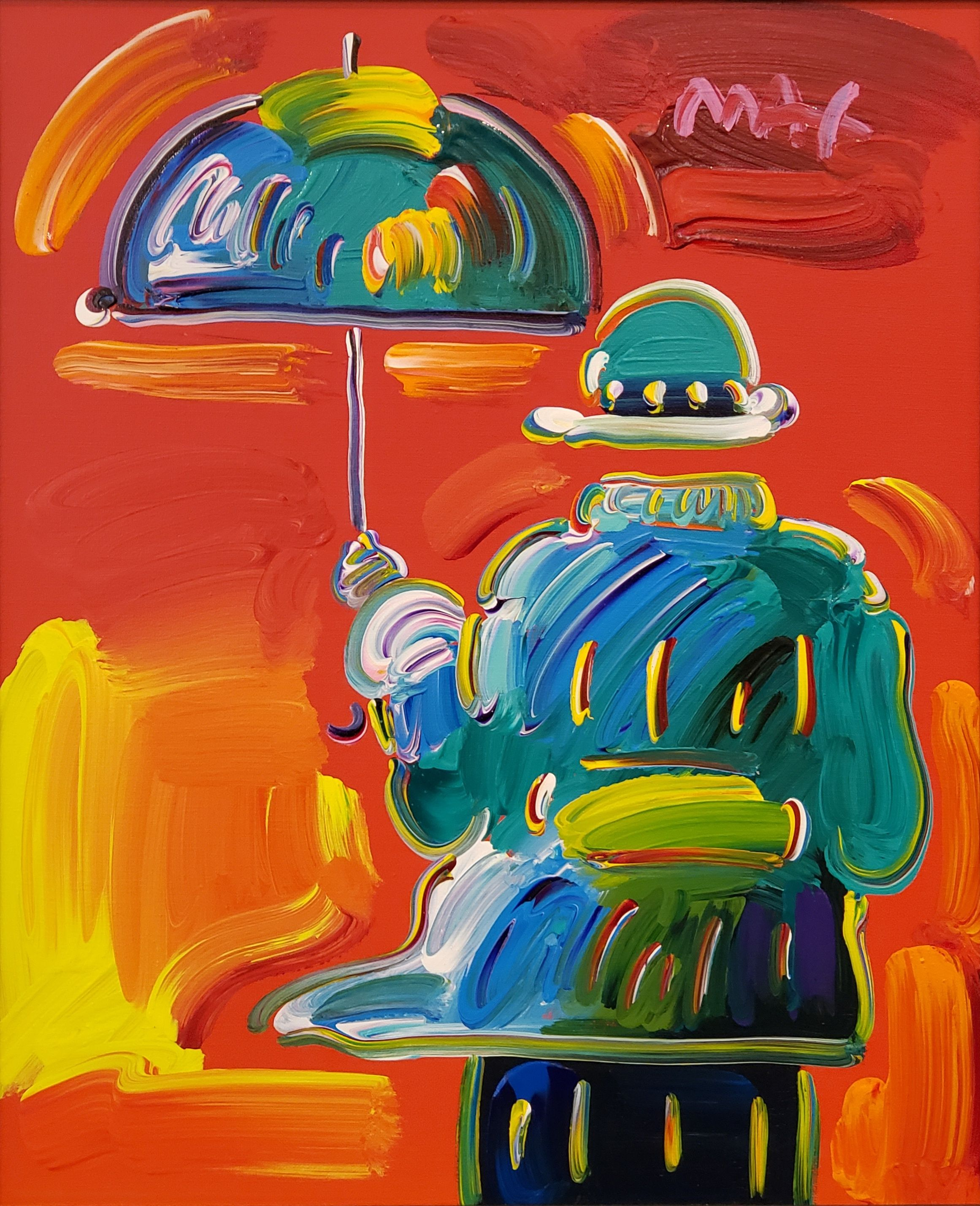 Peter Max - Umbrella Man on Blend; Painting; Original acrylic on canvas; Signed; Pop Art; from The Studio of Peter Max; Pop Art; Off The Wall Gallery Houston.