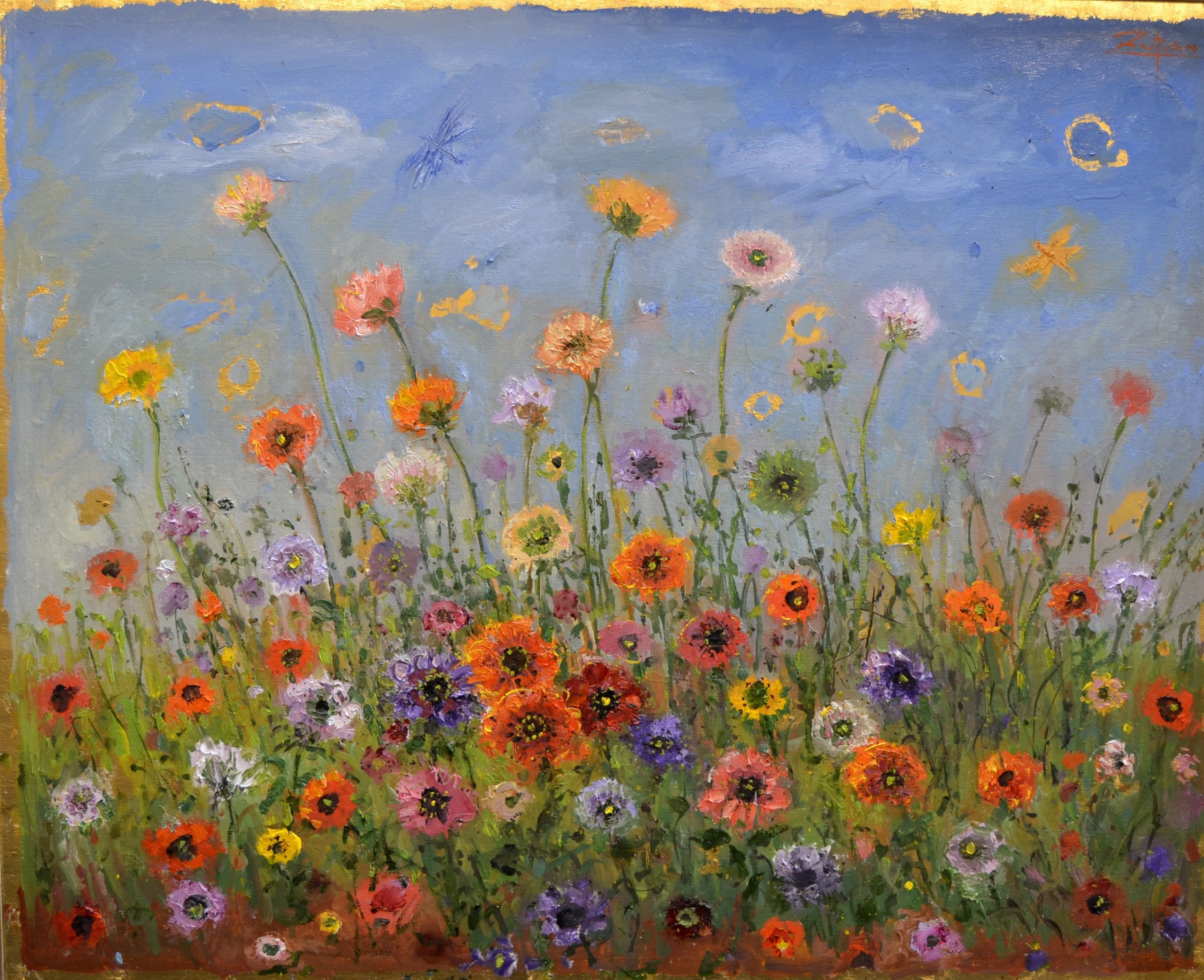 Bruno Zupan - Field of Poppies - Original oil painting - Off The Wall Gallery Houston