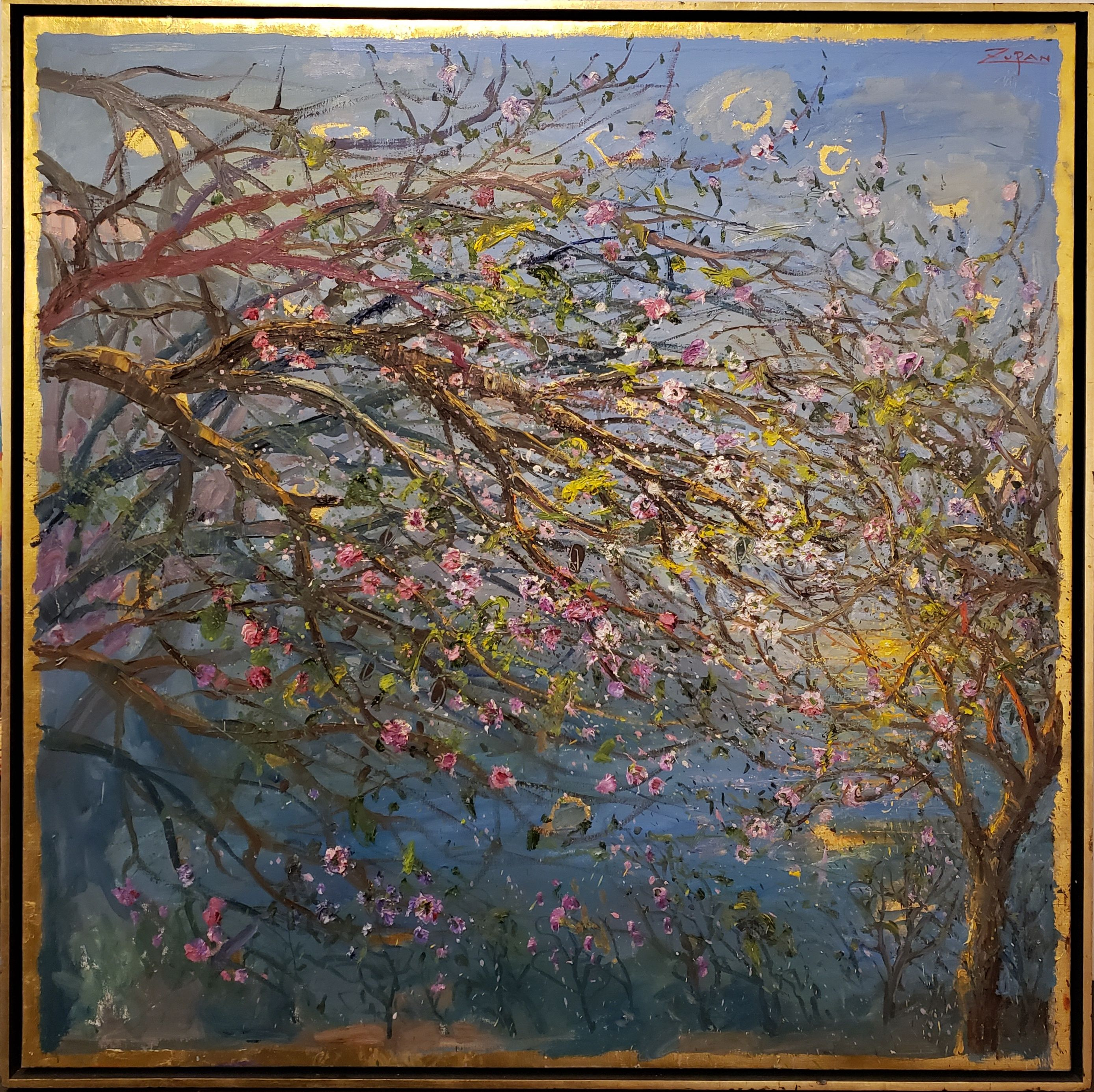 Bruno Zupan - Flowering Branches By The Sea; Painting; Original oil on canvas with gold leaf underpaint; Signed; Fine Art; Off The Wall Gallery Houston