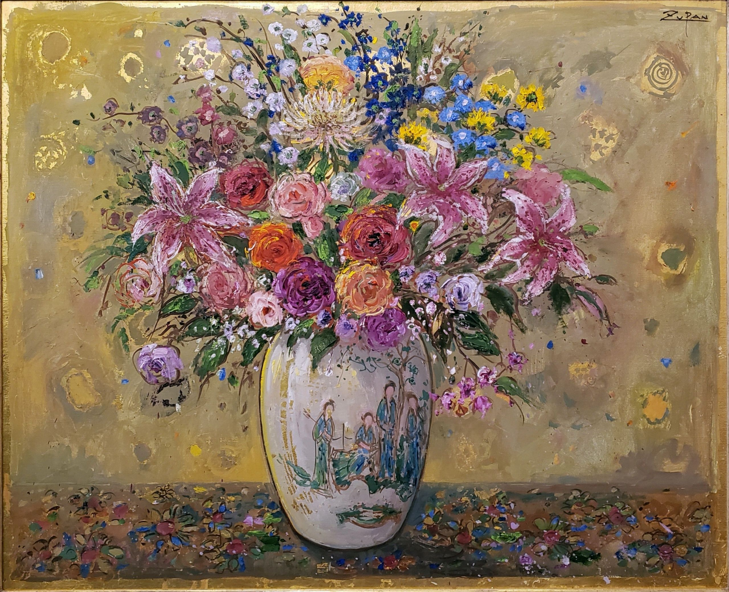 Bruno Zupan - Bouquet on Golden Ground; Painting; Original oil on canvas with gold leaf underpaint; Signed; Fine Art; Off The Wall Gallery Houston