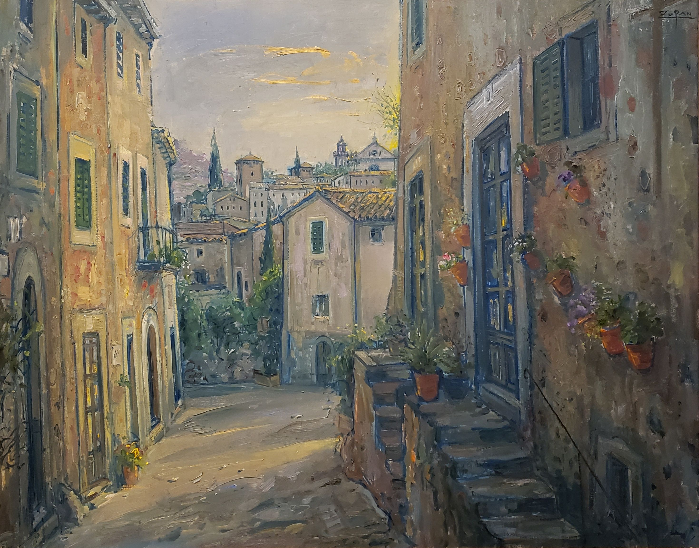 Bruno Zupan - Looking to the Cartuja, Valldemossa. Original oil on canvas. Off The Wall Gallery Houston