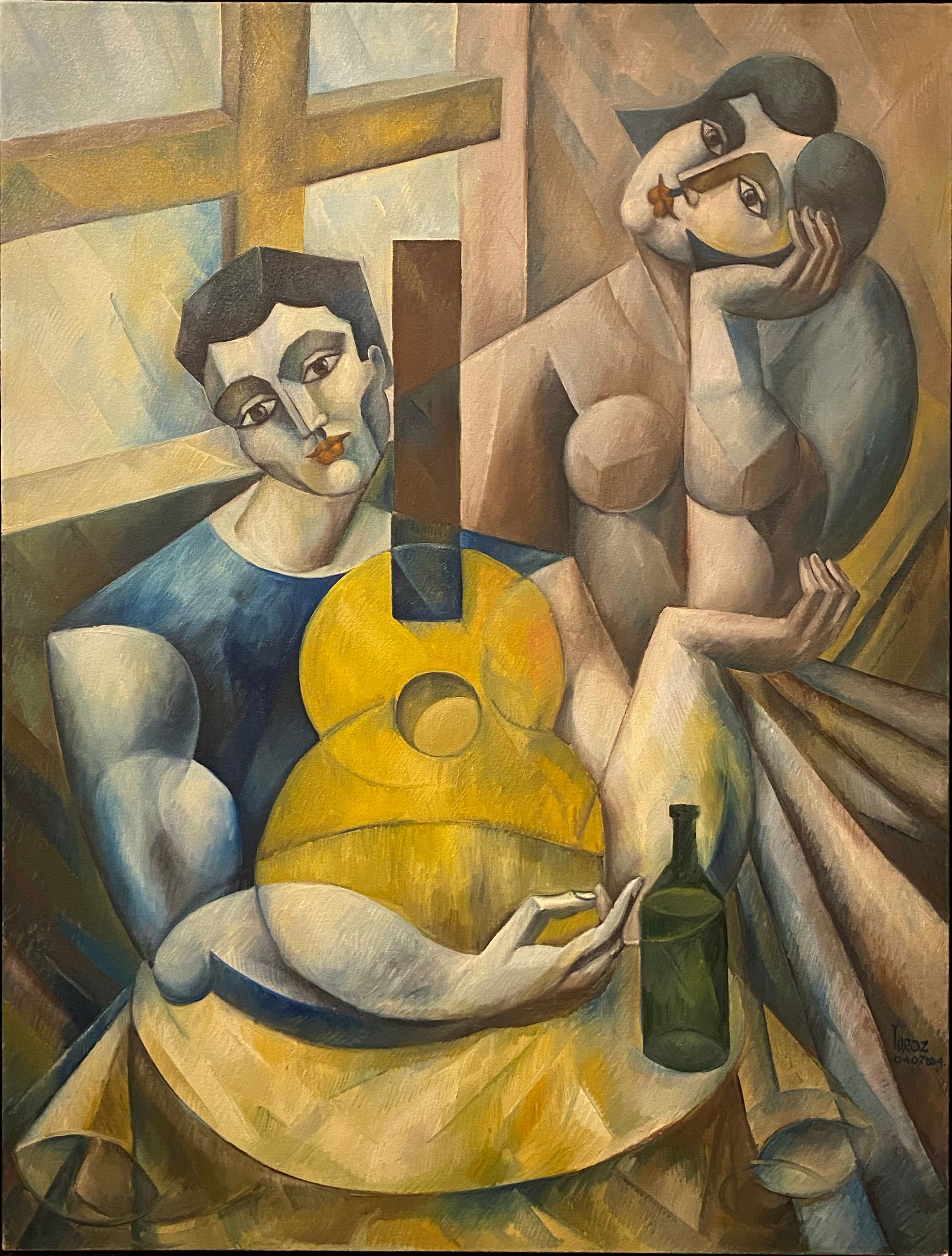 Yuroz - Music Between Lovers with Wine - Painting - Off The Wall Gallery