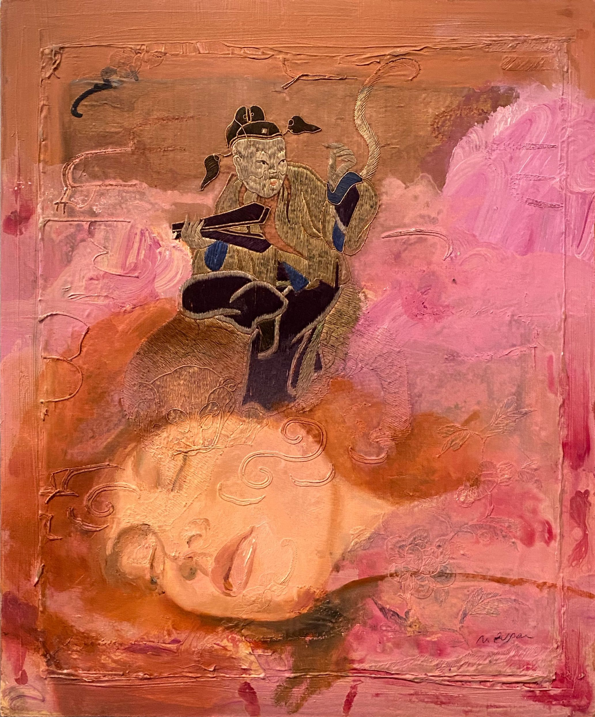 Natasha Zupan - Painting - Man on The Tiger - Off The Wall Gallery Houston