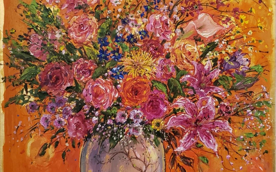 Bouquet on Saffron Ground