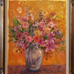 Bruno Zupan - Bouquet on Saffron Ground; Painting; Original oil on canvas with gold leaf underpaint; Signed; Fine Art; Off The Wall Gallery Houston