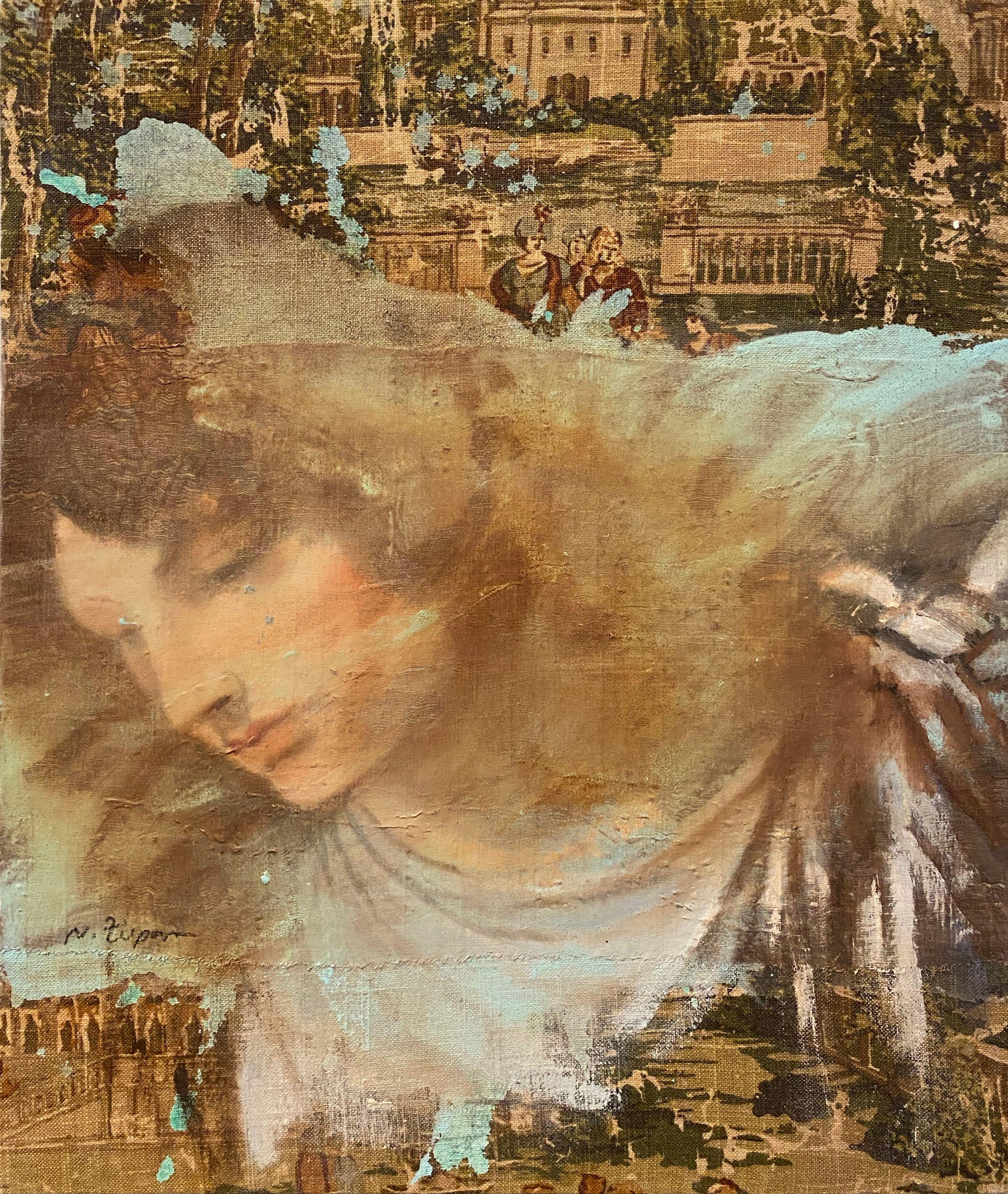 Natasha Zupan - Angel - Painting - Original mixed media on board - Off The Wall Gallery Houston