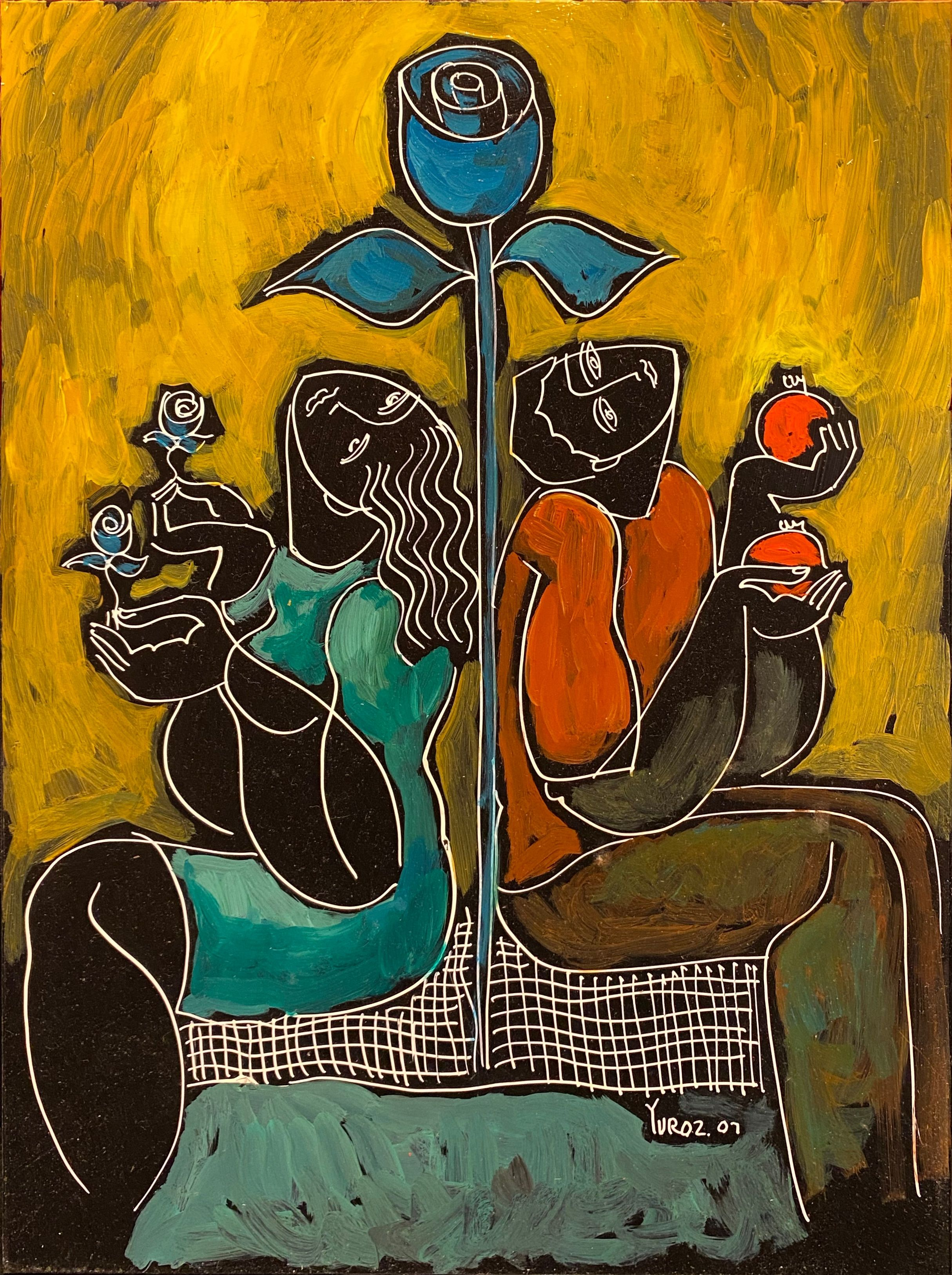 Yuroz - Serenade Under The Tree - Painting - Off The Wall Gallery Houston