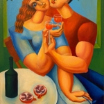 Yuroz - Toast To Love - Painting - Off the Wall Gallery Houston