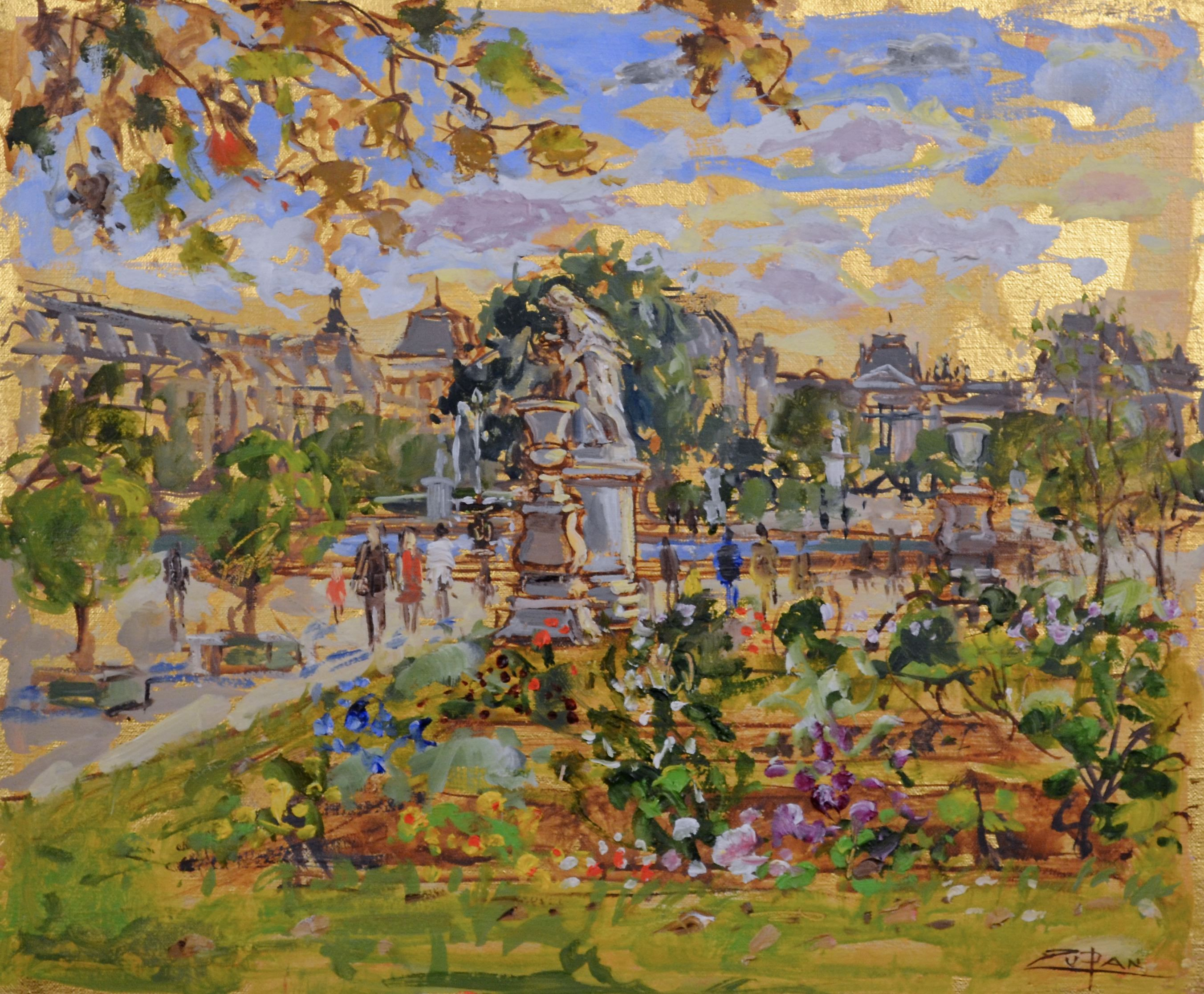 Bruno Zupan - Tuileries July Afternoon - Original painting - Off The Wall Gallery Houston