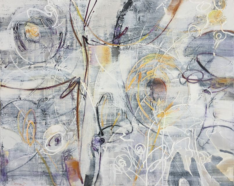 Ted Cowart - Sunflower Field I; 2019; Painting; Original mixed media on canvas; Signed; Contemporary Abstract Art; Off The Wall Gallery Houston