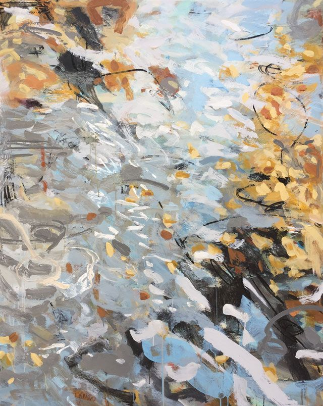 Ted Cowart - Golden Leaves Adrift I, 2019; Painting; Original mixed media on canvas; Signed; Contemporary Abstract Art; Off The Wall Gallery Houston