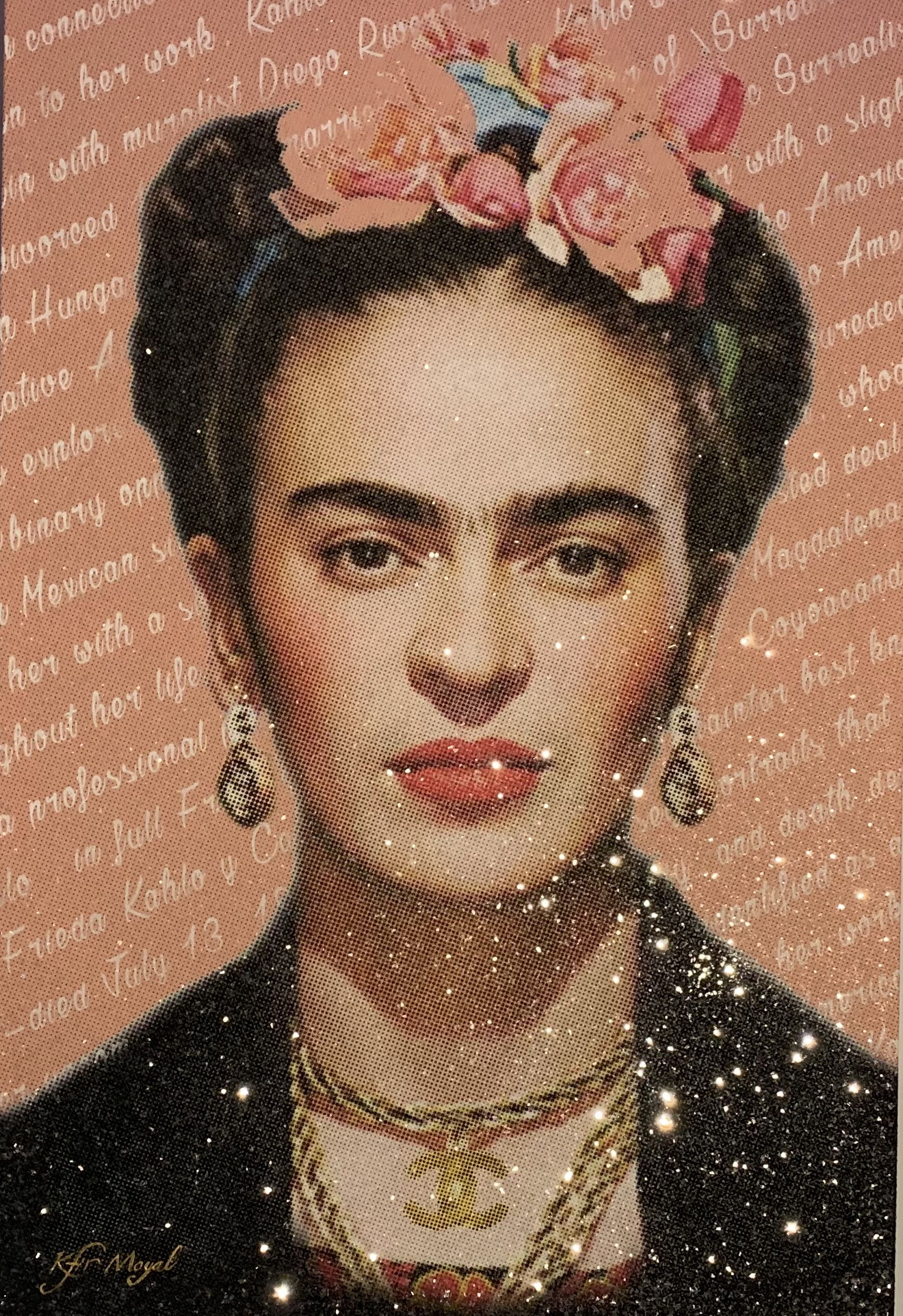 Kfir Moyal - Frida, 2019; Limited edition mixed media silkscreen on canvas, diamond dust, and hand-embellished Swarovski crystals; Off The Wall Gallery Houston.