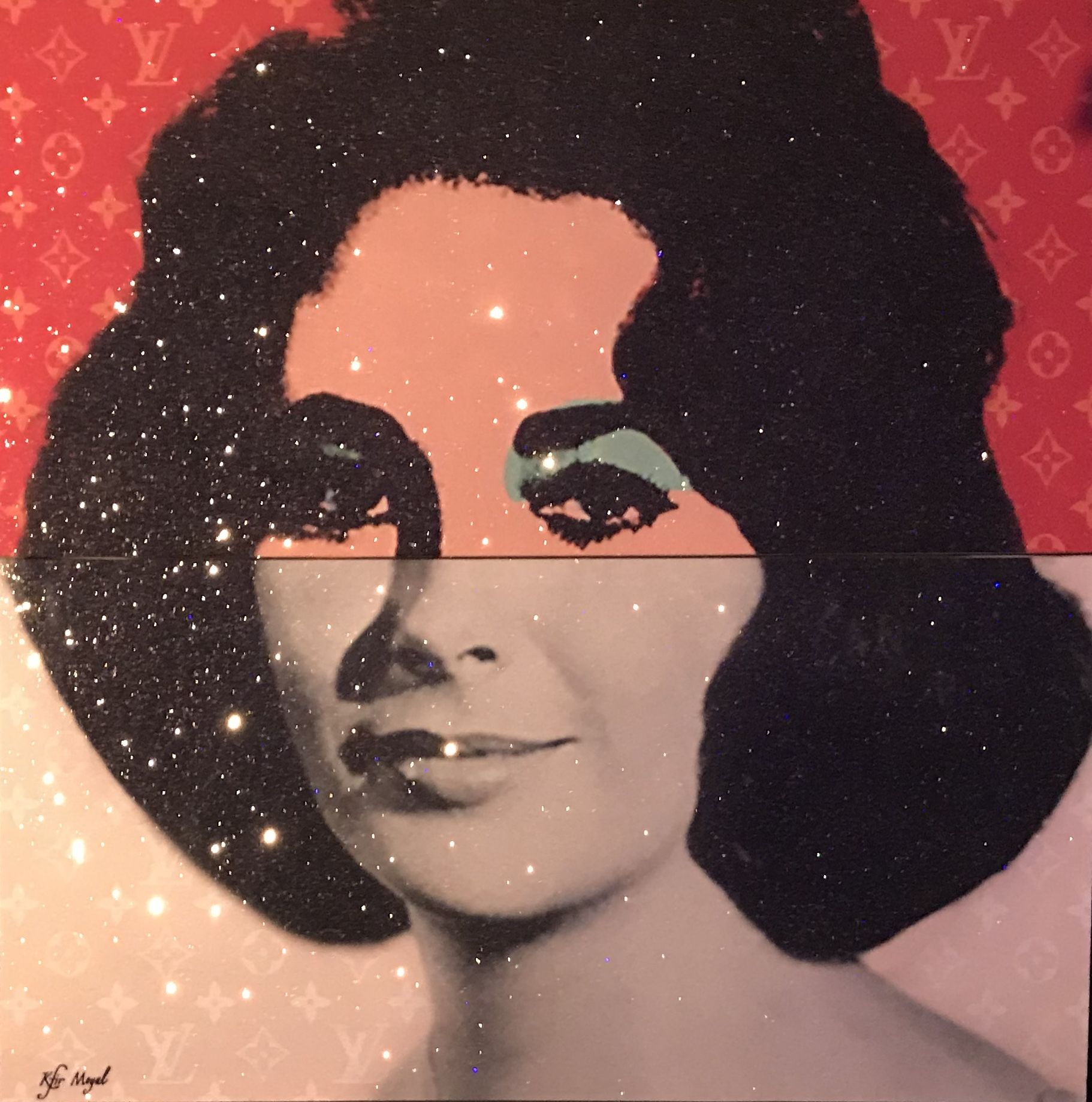 Kfir Moyal - Iconic Elizabeth Taylor, 2018; Limited edition mixed media silkscreen on canvas, diamond dust, and hand-embellished Swarovski crystals; Off The Wall Gallery Houston.