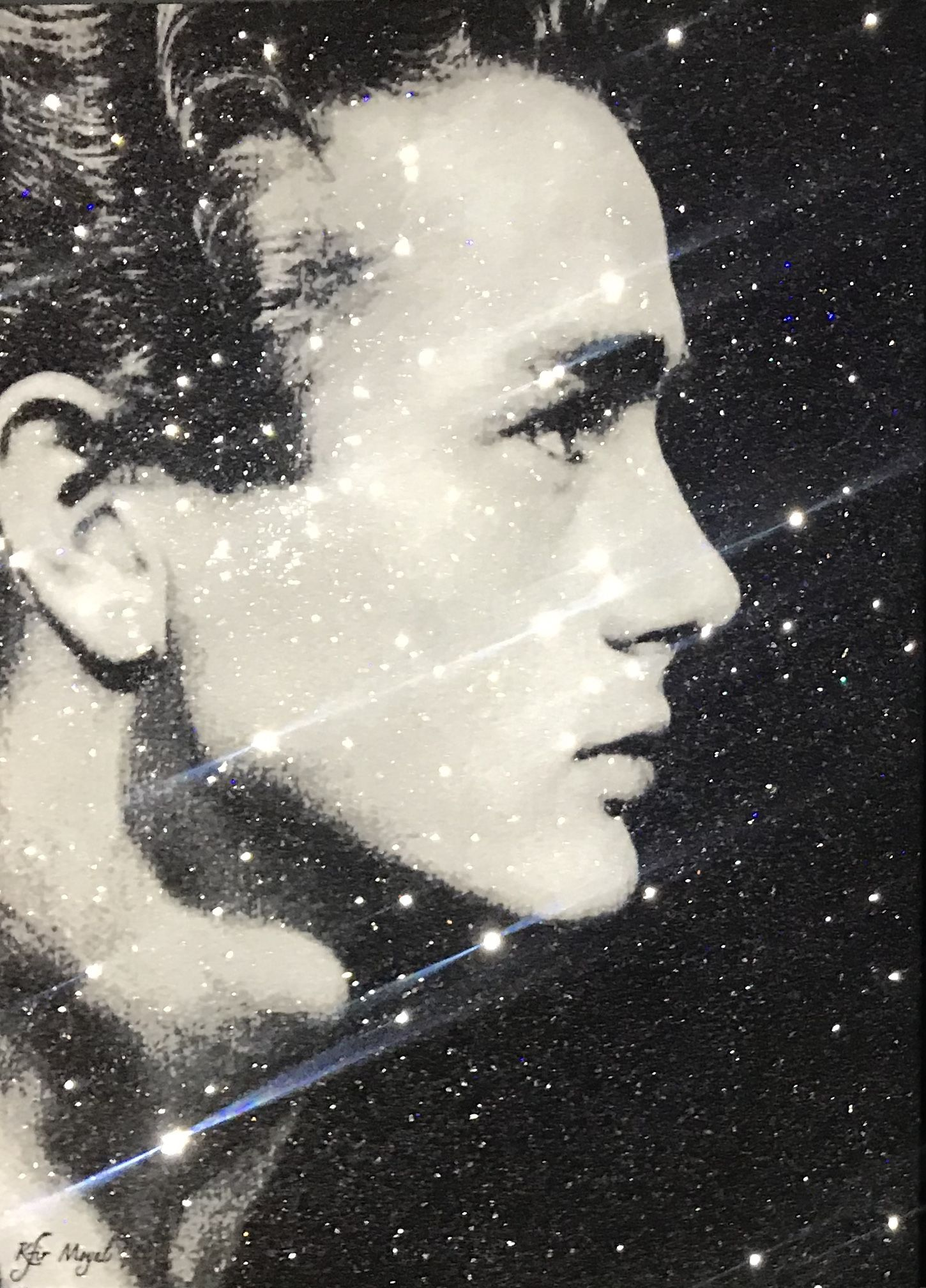 Kfir Moyal - What If... James Dean, 2019; Limited edition mixed media silkscreen on canvas, diamond dust, and hand-embellished Swarovski crystals; Off The Wall Gallery Houston.